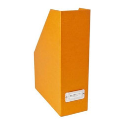 Bigso - Bigso Basix Magazine File - Orange, Set of 3 - We kind of have a thing for magazine files. What's not to love about cool orange file boxes that keep your magazines organized at home or at the office? We're sold. From our Basix Collection, made of recycled fiberboard covered with a thin textured paper laminate and includes metal label holders to make it easy to see just what's inside.