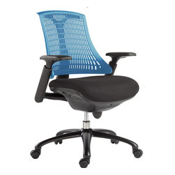 VIG Furniture - Modrest Innovation Modern Blue Office Chair - The design of this modern office chair is based on the creator's passion and user's taste. This mesh two color office chair is a great accompaniment to any desk. It has a high back rest that will support the back and keep you comfortable for hours at end. With this office chair, you can rest assured that your work will be your top priority.