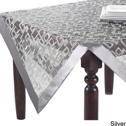 None - Geometric Design Table Linens Topper, Runner or Tablecloth - With a dynamic geometric design, this table fabric is available in runner, topper or tablecloth options. The color options are silver or vanilla to perfectly adorn a contemporary table setting.