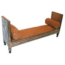 Traditional Indoor Benches by Candelabra