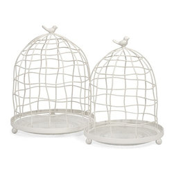 iMax - Picheno Glass and Metal Cloche, Set of 2 - This set of two wire cloches feature glass bases for displaying an endless array of items, from miniature potted herbs to collectible accents.