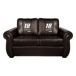 Dreamseat Inc. - Kyle Busch #18 NASCAR Chesapeake Black Leather Loveseat - Check out this Awesome Loveseat. It's the ultimate in traditional styled home leather furniture, and it's one of the coolest things we've ever seen. This is unbelievably comfortable - once you're in it, you won't want to get up. Features a zip-in-zip-out logo panel embroidered with 70,000 stitches. Converts from a solid color to custom-logo furniture in seconds - perfect for a shared or multi-purpose room. Root for several teams? Simply swap the panels out when the seasons change. This is a true statement piece that is perfect for your Man Cave, Game Room, basement or garage.