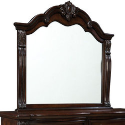 "Standard Furniture - Standard Furniture Churchill Arched Mirror in Antique Bronze - Magnificent details give Churchill Bedroom a grand and stately character that's sure to create a stunning master retreat in today's traditional home.  - 86008.  Product features: Classic design elements include bowed case fronts, raised frame drawer fronts, egg and dart base moldings, plus bold ogee shaped pilasters with acanthus leaf carvings and bead string centers. Crowns on the Poster Bed and Mirror are graceful cove moldings with cabochon and leaf medallion centers.; Casepiece Tops and the Panel Bed include decorative v-matched veneer patterns with narrow Checkerboard inlays.; Storage pieces include a tall 8-Drawer Dresser with Landscape Mirror, 5-Drawer Chest, a tall 3-Drawer Nightstand, and Entertainment chest for media display.; Two impressive Queen and King Beds are available. There's a framed veneer patterned Poster Bed withturned acorn finials atop bold square posts. And, an upholstered Sleigh Bed in brown leather-look ""Soft-Touch""; PU with button tufted headboard and rolled footboard with channel stitching.; Churchill is constructed of exotic hardwoods, primavera veneers, engineered wood products and contains polyresin decorative parts. Its cast metal hardware is finished in an antique bronze tone.; Surfaces clean easily with a soft cloth.. Product includes: Mirror (1). Arched Mirror in Antique Bronze belongs to Churchill Collection by Standard Furniture."