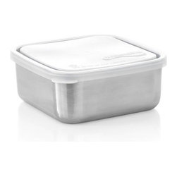 U Konserve® Medium Square Stainless-Steel Container with Clear Lid - Leak-proof, utilitarian container is a prep-worthy and portable option for food storage of all kinds. Non-toxic construction with airtight plastic lid and stainless-steel base that won't retain odors and flavors.
