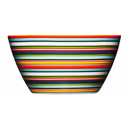 Iittala - Origo Bowl, Orange - Festive stripes of all colors will make every meal a party in this ceramic bowl. The cheerful palette will keep you smiling, as it can easily be mixed and matched with other dishes. And when you're done eating, simply place it in the dishwasher and enjoy the easy cleanup.