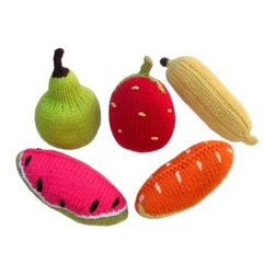 Yellow Label Kids' Rattles, Fruit, Set of 5 - These are the most darling fruit rattles for baby! They're cute for play and display alike.