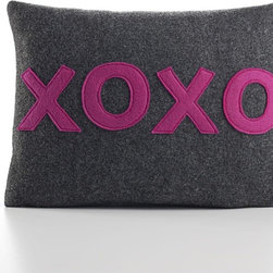 "Alexandra Ferguson - Alexandra Ferguson XOXO Pillow-Charcoal/Fuchsia - 4 letters that pack so much punch and transcend language... Pillow dimensions: 10""x14"" (approx) Recycled polyester fill insert included. The felt that I use is made from 100 percent post consumer recycled water bottles. So, you drink water, throw the empty bottle in the recycling bin. Then they are melted down and turned them into this beautiful, really high quality soft felt that I then use to make pillows. All pillows have a nylon zipper closure, with the alexandra ferguson logo embroidered on the center back bottom."