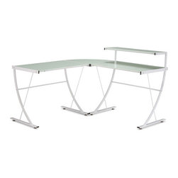 Fighter Desk - Now this desk is super modern! If you like frosted glass, you will love this look.