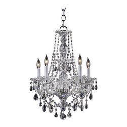 """Quorum International - Quorum International 664-5 Five Light Up Lighting Chandelier from the Bohemian M - Five Light Up Lighting Chandelier from the Bohemian Marien CollectionThe great dressed chandeliers of the late Georgian period in England, of which the Bohemian-Marien chandeliers are a superb example, were the height of luxury at the time, being both very expensive and intricate in their production. After their installation, the work involved in maintaining this means of lighting the domestic interior was laborious. Candles had to be continuously replaced, or trimmed and straightened after every lighting, and each bobeche and their adjacent spattered crystals cleared of wax, washed and polished. Only those in the higher levels of society could afford staff especially employed for this purpose. Specifically, a """"lamp and candle man"""" was hired to maintain the lighting arrangements, and a small room, the """"lamp and candle room"""" was required in the residence where all materials and equipment for this task were kept.Today, electric lighting contributes to the minimal upkeep required to maintain the dressed crystal chandeliers without compromising the sumptuous beauty of the fixtures.Features:"""