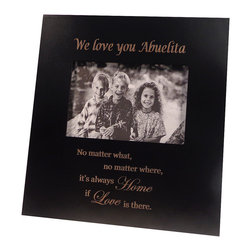 Havoc Gifts - 'We Love you Abuelita' Picture Frame - Engraved lettering gives this timeless frame an understated sophistication that's sure to make precious moments and professionally shot photos shine. It comes ready to display with an easel back and sawtooth hanger.   9.5'' W x 10.25'' H x 0.5'' D Holds one 4'' x 6'' photo Wood / glass / paper Easel back / sawtooth hanger Imported