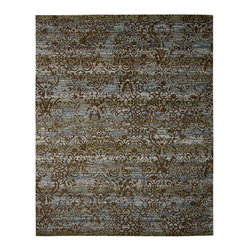 """Nourison - Nourison Rhapsody RH009 7'9"""" x 9'9"""" Blue Moss Area Rug 18711 - Sultry tones set the stage for a dramatic display of decorating panache. Interwoven bands of color form an ever-changing background effect of shimmering blues, greens and taupe, overlaid with a floral pattern in luscious cocoa brown. A sensual and exciting accent piece."""