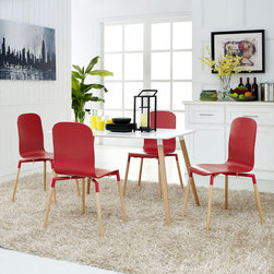 Stack Wood Dining Chairs and Table Set of 5 in Red (EEI-1375-RED) - Acquaint yourself with an intelligent piece concealed behind sheer simplicity. Stack exhibits fluid lines and an organic form in a seamless transition from the abstract to the definite. Made from a painted durable steel top and solid beech wood legs, Stack coalesces both form and purpose in a harmoniously designed piece that matches well in any uncomplicated decor. Set Includes: Four - Stack Wood Dining Chairs One - Stack Wood Dining Table