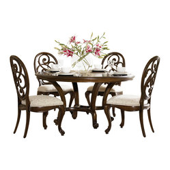 "American Drew - American Drew Jessica McClintock 5 Piece Round Splat Dining Room Set - Welcome to the Jessica McClintock Home, by American Drew. This Collection combines the romantic elements of Jessica into a ""New Traditional"" styling. This collection truly captures the past, present and future together. The combination of materials such as fine veneers, marble, leather and mirror, the dramatic serpentine and bowed shapes, he use of elements from fashion and nature, and the custom, jewelry-like hardware all add a unique flare to this collection that is like nothing before. This Collection is crafted from highly figured Walnut Veneers, Prima Vera and Maple Marquetry in a Mink finish. A Silver Leaf finish is offered on select pieces, giving them a soft, veiled-platinum appearance. Unique pieces abound in Jessica McClintock Home. The Antiqued Mirror Leg Dining Table, the Silver Leafed Leather Bed with Crystal-like buttons, the Dressing Armoire and Silver Leaf Serpentine Chest all create beautiful focal points in every room of your home. Gracious scaled items, eclectic mixture of materials and designs and the romantic touch of Jessica come together to create a collection of furniture that will add a high end style to any home."
