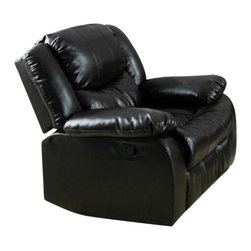 "Acme - Fullerton Espresso Bonded Leather Standard Motion Recliner Chair - Fullerton espresso bonded leather standard motion recliner chair with overstuffed seats and arms. This recliner features a bonded leather upholstery with a release latch on the side of the recliner, this is a manual recliner you need to push the footrest back to lock it in. Recliner measures 39"" x 37"" x 38""H. Some assembly may be required."