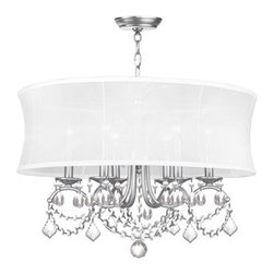 Livex Lighting - Newcastle Brushed Nickel Six-Light Pendant - Off White Silk Shimmer Shade  -3 ft. of chain and 8 ft. of wire  -Canopy: 5 Dia Livex Lighting - 6306-91