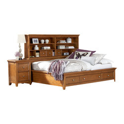 Lea Industries - Lea Willow Run 3-Piece Sideways Platform Bedroom Set in Rich Toffee Brown - Make the most of your child's room with this beautiful multi-functional Platform bed. A classic framed top bookcase headboard features 6 open shelves perfect for organizing books or displaying room decor, with four small compartment drawers for other smaller objects and toys. The footboard boasts three storage drawers for storing away treasures, extra clothes, or toys. Crafted with a rich toffee finish and metal knobs for a modern touch, this charming platform bookshelf bed has it all.