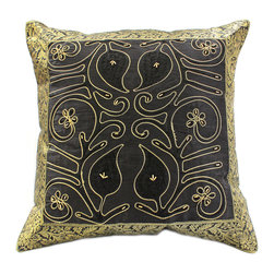 "Banarsi Designs - Ornamental Embroidered Pillow Cover, Set of 2, Midnight Black - The ""Ornamental Embroidered Pillow Cover"" represents artistic qualities through a very detailed and imaginative Indian embroidered and hand-stitched process known as Cut Dana."