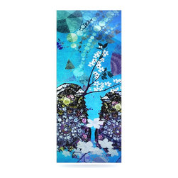 """Kess InHouse - alyZen Moonshadow """"Birds In Love Blue"""" Navy Purple Metal Luxe Panel (9"""" x 21"""") - Our luxe KESS InHouse art panels are the perfect addition to your super fab living room, dining room, bedroom or bathroom. Heck, we have customers that have them in their sunrooms. These items are the art equivalent to flat screens. They offer a bright splash of color in a sleek and elegant way. They are available in square and rectangle sizes. Comes with a shadow mount for an even sleeker finish. By infusing the dyes of the artwork directly onto specially coated metal panels, the artwork is extremely durable and will showcase the exceptional detail. Use them together to make large art installations or showcase them individually. Our KESS InHouse Art Panels will jump off your walls. We can't wait to see what our interior design savvy clients will come up with next."""