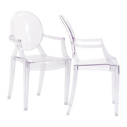 Modway - Modway EEI-905 Casper Dining Armchairs Set of 2 in Clear - Combine artistic endeavors into a unified vision of harmony and grace with the ethereal Casper Chair. Allow bursts of creative energy to reach every aspect of your contemporary living space as this masterpiece reinvents your surroundings. Surprisingly sturdy and durable, the Casper Chair is appropriate for any room or outdoor setting. Pure perception awaits, as shining moments of brilliance turn visual vacuums into new realms of transcendence.