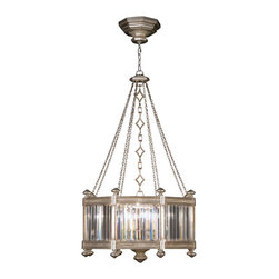 Fine Art Lamps - Eaton Place Silver Pendant, 584440-2ST - Crown the ceiling of your favorite setting with this gleaming fixture, inspired by an Edwardian manor house. Faceted channel-set crystals form the impressive pendant, supported by decorative chains in a warm, muted silver-leaf finish.