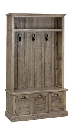 Jofran - Jofran 940-15 Reclaimed Pine Hall Tree in Waxed - Keep your entryway neat and organized with this hall tree made of reclaimed pine. Hooks let you hang up jackets, scarves, and sweatshirts while the top shelf can hold additional clothing items or decorative pieces. Use the hidden storage base for shoes or boots helping you keep the floor clear. Rustic in style, this hall tree is an awesome storage piece for your home.
