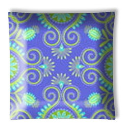 "Gypsy Bandana Purple and Green Paisley Ceiling Light - 12"" square semi flushmount ceiling lamp with designer finish. Includes complete installation instructions and complete light fixture. Wipes clean with a damp cloth. Uses 2-60 watt bulbs (not included) and is made with eco-friendly/non-toxic products. This is not a licensed product, but is made with fully licensed products."