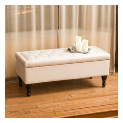 Christopher Knight Home - Christopher Knight Home Chantelle Fabric Storage Ottoman - The Chantelle is a multi-functional ottoman with stylish features. Upholstered in polyester linen blend, this ottoman has a plush tufted top that is comfortable for sitting and opens to the storage compartment.