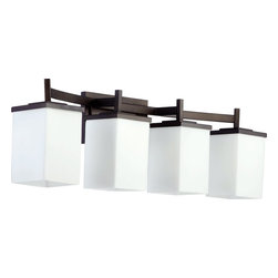 Quorum Lighting - Quorum Lighting Delta Modern / Contemporary Bathroom / Vanity Light X-68-4-4805 - This Quorum Lighting bathroom light from the Delta Collection features clean lines with slender framing that creates a versatile appearance. Finished in a beautiful Oiled Bronze hue, this contemporary bathroom vanity light features four lights and satin opal glass diffusers.