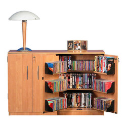 Venture Horizon - Double Wide Tape Storage - Oak - Our locking, double wide cabinets offer secure storage (in cabinet and on pocket doors) for expensive DVD's, CD's Video Tapes andmore. It is also a welcome deterrent to curious young children. Cabinet (2360) measures 31in. high x 48in. wide x 13in. deep and weighs 70 lbs. Will hold up to a 300 lb. 36in. regular TV or a 42in. Plasma or Projection television. Constructed from durable melamine laminated particle board available in either rich cherry, golden oak or black. Assembly required. Made in the USA.
