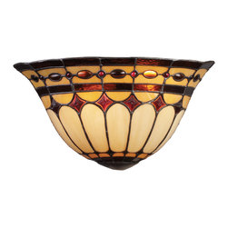 Elk Lighting - Diamond Ring 2-Light Sconce in Burnished Copper - This Forever Lasting Collection fits perfectly in just about every decor. The diamond ring pattern features oven-bent panels in hues of honey and amber which are enhanced by an exquisite blend of neutral toned stones and finished in a stately burnished copper (bc).