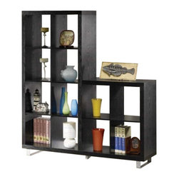 """Coaster - Bookshelf (Black) By Coaster - Dimension: 63""""W x 15 3/4""""D x 70 5/8""""H Finish: Black Material: Wood, Metal Two Level Bookcase with Metal Legs in Black Finish Features two level bookcase with brushed metal accents legs and support. Item is designed to be practical in use and to beautify your home decor. Assembly required."""