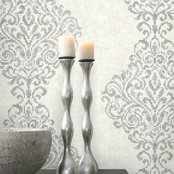 Sparkle by Kenneth James - An exquisite silver damask wallpaper with very chic metallic foil pixels.