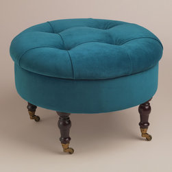 World Market - Round Peacock Lucille Ottoman - I love the idea of adding this little stool/ottoman to a bathroom. Not only does it bring in a pop of color, but it's also the perfect spot to relax while putting on makeup or waiting for the bath to fill. Plus, this peacock blue hue is a favorite of mine.