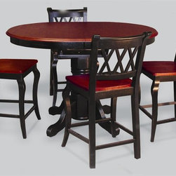 Sunset Trading - Eco-friendly Cafe Table with 4 Chairs - Chair with cabernet triple-X back styling. Table with self storing 18 in. butterfly leaf. Adjustable feet levelers. Warranty: One year. Made from Malaysian oak. Antique black and cherry finish. Chair made in Thailand and table made in Malaysia. Assembly required. Chair: 18.5 in. W x 21 in. D x 40 in. H (24.73 lbs.). Table minimum: 54 in. L x 42 in. W x 36 in. H. Table maximum: 66 in. L x 42 in. W x 36 in. H (88.27 lbs.)Welcome guests into your home with a touch of country comfort with this classic American piece from the Sunset Trading - Sunset Selections Collection. Warm and inviting this versatile pedestal cafe table will easily complement your dining area, kitchen, family room or media and game room. Whether it's casual coffee and conversation, everyday dining, holidays or special occasions, memories are guaranteed to be made when family and friends gravitate around this versatile piece. Perfectly styled to meet both your dining and entertaining needs, the classic beauty and craftsmanship of this pedestal cafe dining piece will bring warmth and comfort to your home for years to come. Complete your dining decor with this traditional yet stylish cafe chair from the Sunset Trading - Sunset Selections Collection. Its casual charm is versatile enough to complement traditional, country or modern day decor. Perfect for everyday casual dining or entertaining guests at your cafe table or kitchen snack bar. Offering traditional classic beauty and style, yet always dependably functional, your family and friends will enjoy the seating comfort of this inviting cafe chair for years to come.
