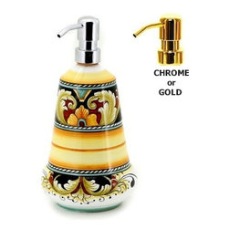Artistica - Hand Made in Italy - DERUTA VARIO: Liquid Soap/Lotion Dispenser (Large - 26 oz) - DERUTA VARIO Collection: