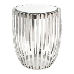 Imax - Xanthia Steel and Mirror Accent Table Glass Stainless Steel Decor - Xanthia steel and mirror accent table glass stainless steel decor Imax 19951