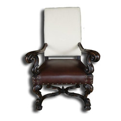 EuroLux Home - New Fireside Chair Black and White Leather Stetcher - Product Details