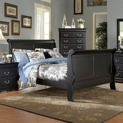 Bastille - The Bastille is crafted in a traditional Louis Philippe style with a high footboard and features a black sand-through finish.