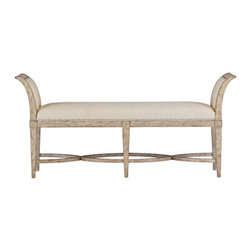 Stanley-Coastal Living - Surfside Bed End Bench - The Surfside Bed End Bench, by Stanley Coastal Living, makes getting ready for a busy day much more relaxing and enjoyable. Its subtle tone-on-tone reef fabric captures the elegance of coastal life, while the pewter nailhead trim adds a hint of sophistication. A sandy linen finish beautifully coats the bench's hardwood solids, highlighting the grain of its white oak veneers. Framed by beautifully upholstered arms, this refined bed bench requests but a minute of your time.