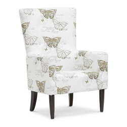 Baxton Studio - Upholstered Accent Chair in Beige - Traditional style. Spot clean only. CA117 compliant polyurethane cushioning. Made from engineered wood and foam. Black lacquer finish. Minimal assembly required. Seat: 21.12 in. W x 23 in. D x 18.12 in. H. Overall: 29.5 in. W x 32.12 in. D x 44.75 in. H (38 lbs.)Like an entry out of a butterfly collectors journal, the Linnaeus Designer Arm Chair is stamped with gold and brown images of butterflies and their scientific names. This accent chair gets its inspiration from its namesake, Carl Linnaeus, a Swedish botanist and zoologist who lived during the 1700s.