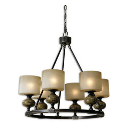 Uttermost - Uttermost Porano 6 Lt Chandelier w/ Frosted Glass Shades - 6 Lt Chandelier w/ Frosted Glass Shades belongs to Porano Collection by Uttermost Distressed ceramic finished in a rust green glaze with brushed oil rubbed bronze metal details and frosted glass shades. Chandelier (1)
