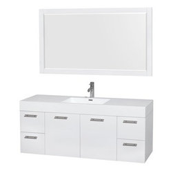 """Wyndham Collection(R) - Amare 60"""" Wall-Mounted Single Bathroom Vanity Set with Integrated Sink by Wyndha - The Wyndham Collection is an entirely unique and innovative bath line. Sure to inspire imitators, the original Wyndham Collection sets new standards for design and construction. The Amare wall-mounted vanity family delivers beautiful wood grain exteriors offset by modern brushed chrome door pulls. Each vanity provides a full complement of storage areas behind sturdy soft-close doors and drawers. This versatile vanity family is available with distinctive vessel sinks or sleek integrated counter and sinks to fulfill your design dreams. A wall-mounted vanity leaves space in your bathroom for you to relax. The simple clean lines of the Amare wall-mounted vanity family are no-fuss and all style. Amare Bathroom Vanities are available in multiple sizes and finishes.FeaturesConstructed of the highest grade MDF, engineered for durability to prevent warping and last a lifetime 8-stage preparation, painting and finishing processHighly water-resistant low V.O.C. sealed finishUnique and striking contemporary designModern Wall-Mount DesignMinimal assembly requiredDeep Doweled DrawersFully-extending soft-close drawer slides Concealed soft-close door hinges Backsplash not availableAcrylic-Resin integrated sink Rectangular Sink Single-hole faucet mountFaucet(s) not includedMirror includedMetal exterior hardware with brushed chrome finish Two (2) functional doors Four (4) functional drawers Plenty of storage space Plenty of counter spaceIncludes drain assemblies and P-traps for easy assembly How to handle your counter Spec Sheet for Vanity Installation Guide for VanitySpec Sheet for Mirror Installation Guide for Mirror Spec Sheet for Amare Rotating Wall Cabinet with Mirror (WC-RYV202) Spec Sheet for Amare Bathroom Wall Cabinet (WC-RYV205)Installation Guide for Amare Bathroom Wall Cabinet (WC-RYV205) Spec Sheet for Amare Bathroom Wall Cabinet (WC-RYV207-WC)Installation Guide for """