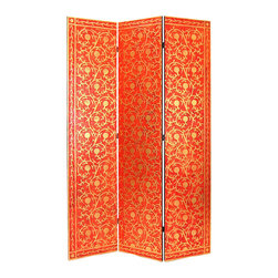 Wayborn - Wayborn Golden Vine Room Divider in Red/Gold - Wayborn - Room Dividers - 2361 - Wayborn coromandel screen start with a cedar plywood frame covered in a cheesecloth material. Then layer after layer of plaster is applied; each layer must dry before another layer can be applied. After all the plaster has been applied several coats of lacquer is put over the entire surface. The design is drawn onto life-sized paper and carefully traced on to the panels. The craftsman then hand carves the design into the screen through the lacquer into the plaster. Once the screen is done it is painted with water based paint or silver/gold leaf is applied and sealed with a clear lacquer coat.