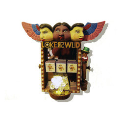 Jokers Wild (Original) by Lewis Cohen - JOKERS WILD is part of a series of LUCK YOU 3D wall hanging sculptures. The three heads look out seeing a smiling face that just spun 3 Jokers and hit a jackpot of gold coins pouring into a cup at the bottom. You will see smiling faces reflected in the mirrored background inside the box. This delightful sculpture will take a treasured spot on an astute collectors wall.