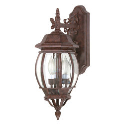 Nuvo Lighting - Central Park Old Bronze with Clear Beveled Panels 3-light Wall Lantern - Give your home a fresh new look with this attractive wall lantern from Central Park. This light fixture suits any decor with its old bronze finish and clear-beveled panel shades. Its metal-and-glass construction offers a promise of longevity.