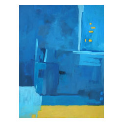 Large Blue Abstract Painting, Apartment in Greece II - Quality Giclee painting on canvas.  Abstract with an array of radiant colors of blues and touches of yellow.