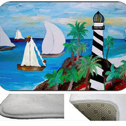 Light House Bay Plush Bath Mat, 30X20 - Bath mats from my original art and designs. Super soft plush fabric with a non skid backing. Eco friendly water base dyes that will not fade or alter the texture of the fabric. Washable 100 % polyester and mold resistant. Great for the bath room or anywhere in the home. At 1/2 inch thick our mats are softer and more plush than the typical comfort mats.Your toes will love you.