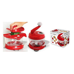 None - Kitchen King Pro Red 11-piece Food Preparation Station - The Kitchen King Pro complete food preparation station will streamline your cooking experience. It includes eleven bowls,lids,and blades that stack into one another for convenient storage. It has a Julienne slicer with two thickness settings.