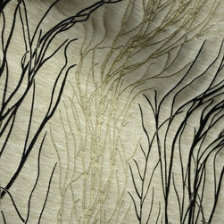 Sherwood Daybreak Tree Branch Contemporary Upholstery Fabric By The Yard - Sherwood Daybreak upholstery fabric.  This beige contemporary fabric is embroidered with black and gold tree branches.  Uses for this pattern include pillows, cornices and upholstery.