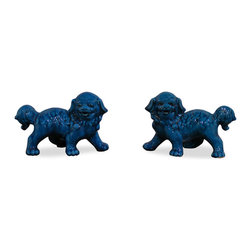 Blue Foo Dogs - As fantasy lions of Chinese mythology, Foo Dogs always stand in pairs to serve as guardians to prevent harmful things from happening to the family. This pair is painstakingly handmade by skilled craftsmen in China. Great to display on a mantel or side table as a symbolic Asian accent.